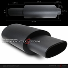 "Universal Square Euro Type Oval Black 2.5"" Inlet Muffler"