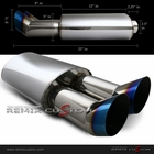 "Universal DTM Style 2.5"" Inlet / 3"" Dual Burnt Tip Muffler"