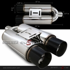 "Universal Dual 3.5"" Flat Carbon Tip 2.5""In/Outlet Exhaust Muffler"
