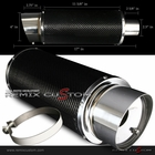 "Universal 2.5"" Inlet / Outlet 4"" Flat Tip Carbon Fiber Muffler with Chrome Tip w/ Silencer"