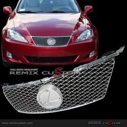 06-08 Lexus IS250/350 IS-F Style ABS Front Hood Mesh Grill with Logo Base