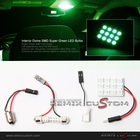 SMDx12 Green LED 34mm x 23mm Interior Dome Light