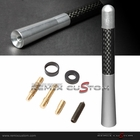 "Universal 5"" Aluminum Screw-on Carbon / Silver Car Antenna"