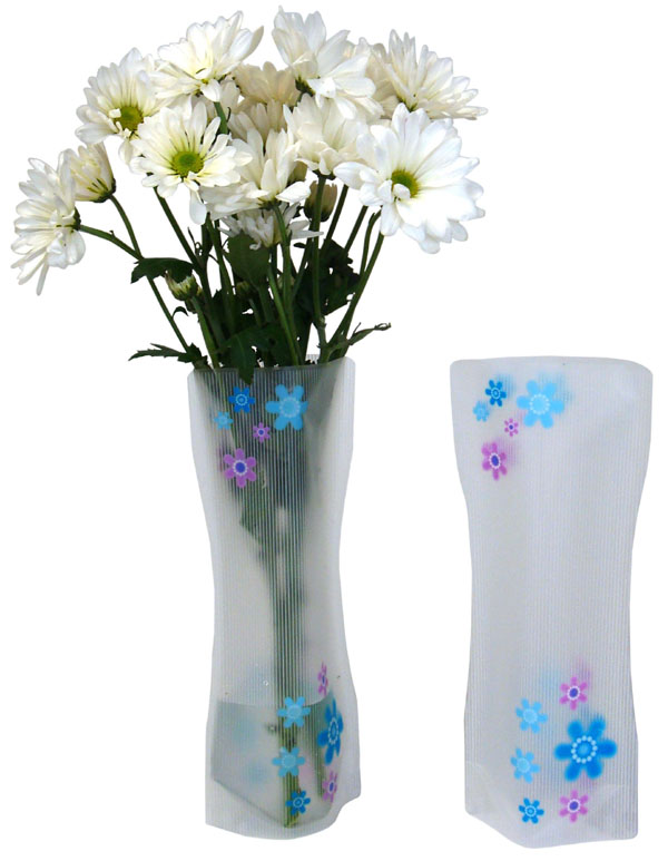 Plastic Floral Vase Blue Purple Flowers
