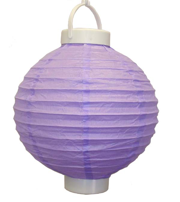 12 battery operated light purple led paper lantern for Battery operated lights for craft booth