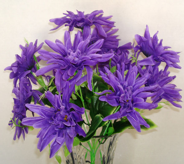 12 Chrysanthemum Purple Artificial Silk Flowers Bouquet