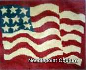 Red Waving Flag Needlepoint Canvas