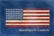 US Flag with Blue Background Needlepoint Canvas