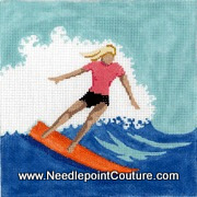 Surfer Girl Needlepoint Canvas
