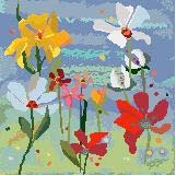 Blue Collage Bouquet Needlepoint Canvas