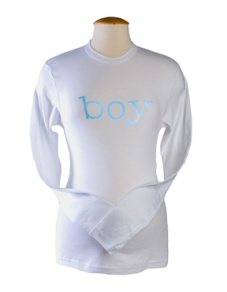 """Boy"" Maternity Tee in Long Sleeve in White"