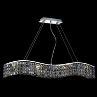 Elegant 2041D36C-SS-RC Contour Medium Kitchen Island Light with Square Silver Shade Crystals