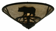 Meyda Tiffany 112458 Bear On The Loose Silver Mica Flush Mount 17 Inch Diameter Ceiling Light