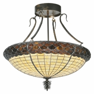 Meyda Tiffany 105629 Greenbriar Oak Semi Flush Mount Tiffany Glass Ceiling Light Fixture