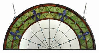 Meyda Tiffany 109545 Fleur-De-Lis Stained Glass Half Circle Wall Décor - 18 Inches Tall