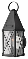 Hinkley 1840BK York Traditional Black Seedy Glass 15 Inch Tall Small Outdoor Sconce