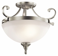 Kichler 43169NI Monroe Semi Flush Mount Brushed Nickel 2 Lamp Ceiling Lighting