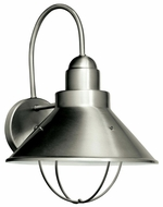 Kichler 11099NI Seaside Large 14 Inch Tall Brushed Nickel Nautical Outdoor Wall Light