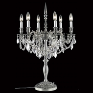Elegant 9206TL20PW-RC Rosalia 6 Light Vintage Pewter Crystal Lamp