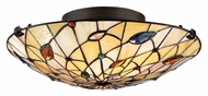 Quoizel TF1409SVB Tiffany Semi Flush 17 Inch Diameter Art Glass Ceiling Light