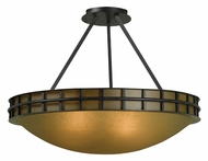 Kenroy Home 91597FGRPH Pane Forged Graphite 17 Inch Diameter Ceiling Light With Amber Scavo Glass