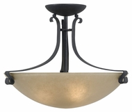 Kenroy Home 91910FGRPH Willoughby 3 Lamp Forged Graphtie Finish Semi Flush Overhead Lighting