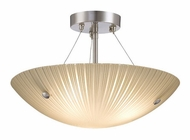 Lite Source LS18460 Rocco Semi Flush Mount 15 Inch Diameter Polished Steel Ceiling Light Fixture
