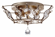 Feiss FM374BUS Leila Crystal Semi Flush Mount 15 Inch Diameter Overhead Lighting - Burnished Silver