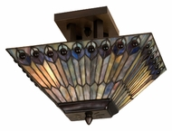 Meyda Tiffany 31191 Jeweled Peacock 13 Inch Tall Tiffany Glass Oblong Semi Flush Lighting