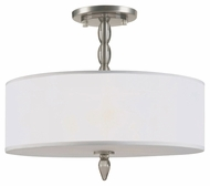 Crystorama 9505-SN Luxo Large Silver Silk Shade 18 Inch Diameter Transitional Satin Nickel Ceiling Lighting