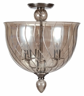 Crystorama 9843-CH-CG Harper Polished Chrome Finish Cognac Glass Semi Flush Modern Ceiling Light
