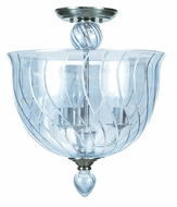 Crystorama 9843-CH-IB Harper Contemporary Ice Blue Glass 14 Inch Diameter Semi Flush Lighting - Polished Chrome