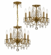 Crystorama 5545-AG-CL-MWP Mirabella Convertible Aged Brass 15 Inch Diameter Ceiling Light & Pendant