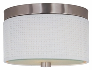 ET2 E95100-100SN Elements Small Satin Nickel Finish White Weave 10 Inch Diameter Ceiling Light Fixture