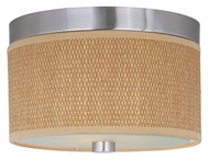 ET2 E95100-101SN Elements Small 10 Inch Diameter Satin Nickel Grass Cloth Flush Lighting