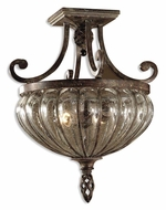 Uttermost 22208 Galeana 19 Inch Tall Semi Flush Antique Saddle Ceiling Lighting
