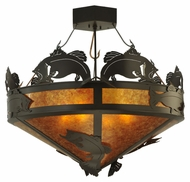 Meyda Tiffany 130951 Timeless Bronze Amber Mica Catch Of The Day Bass Flush Mount Lighting