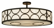 Meyda Tiffany 132744 Cilindro Semi Flush Transitional 36 Inch Diameter Bronze Ceiling Lighting