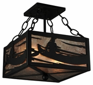 Meyda Tiffany 132765 Canoe At Lake Silver Mica Rustic Ceiling Lamp