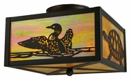 Meyda Tiffany 128407 Bronze Flush Mount Loons & Turtles 10 Inch Wide Rustic Ceiling Light Fixture
