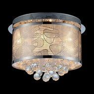 Lite Source LSEL-50098 Meo Flush Mount 9 Lamp 17 Inch Diameter Contemporary Laser Cut Metal Shade Ceiling Light