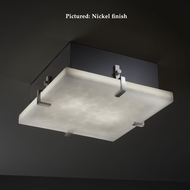 Justice Design CLD-5555 Clips Modern Small 12 Inch Wide Square Flush Mount Ceiling Light Fixture - Cloud Glass
