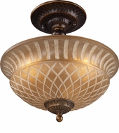 ELK 08097-AGB Restoration 3 Light 10 inch Semi Flush Ceiling Fixture