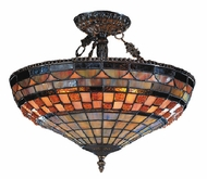 ELK 614-CB Jewelstone 3 Light Tiffany Semi Flush Ceiling Fixture