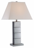 Lite Source LS21105 Maeka 27 Inch Tall Polished Steel Column Table Lamp Lighting