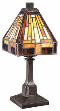 Quoizel TF1018TVB Stephen Bronze Tiffany Art Glass 11.5 Inch Tall Table Lighting
