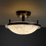 Justice Design 9680 Semi-flush 14  Round Bowl with Ring Ceiling Light - Various Shade Options