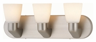 Lite Source LS16833SS/FRO Taza 18 Inch Wide Satin Steel Finish Transitional Vanity Light - 3 Lamps
