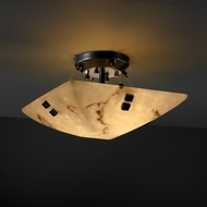 Justice Design 9650 Finials Semi-flush 14 Round or Square Bowl Ceiling Light with Choice of Finial