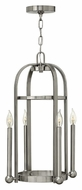 Hinkley 3013BN Landon Small 24 Inch Tall Brushed Nickel 4 Candle Foyer Lighting Pendant